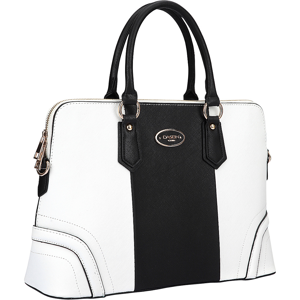 Dasein Colorblock Slim Briefcase with Removable Shoulder Strap White/Black - Dasein Leather Handbags
