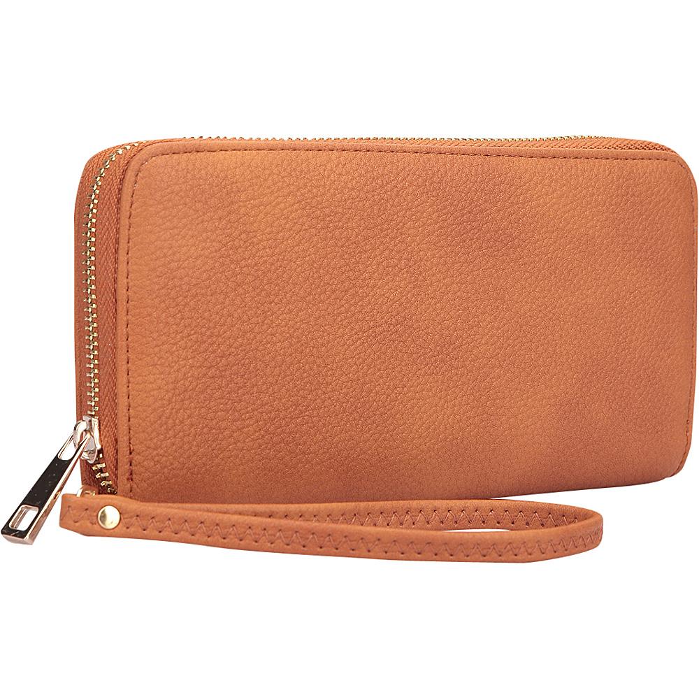 Dasein Zip Around Emblem Wallet Brown - Dasein Leather Handbags - Handbags, Leather Handbags