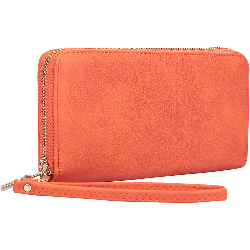 Dasein Zip Around Emblem Wallet Orange - Dasein Manmade Handbags - Handbags, Manmade Handbags