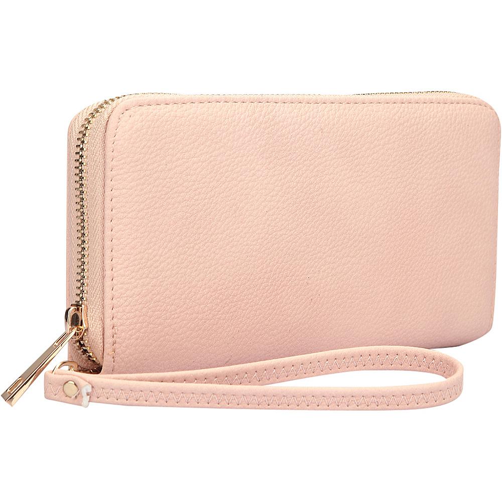 Dasein Zip Around Emblem Wallet Light Pink - Dasein Leather Handbags - Handbags, Leather Handbags