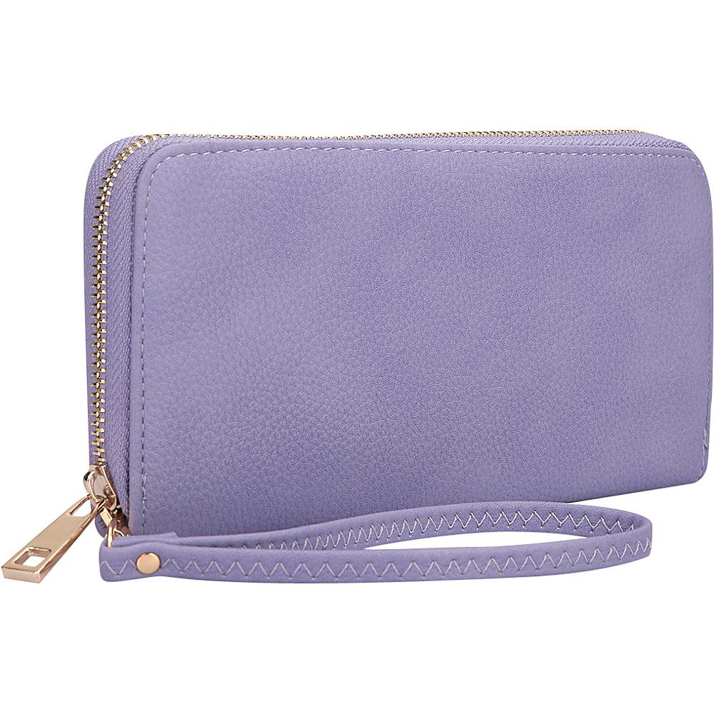 Dasein Zip Around Emblem Wallet Purple - Dasein Leather Handbags - Handbags, Leather Handbags
