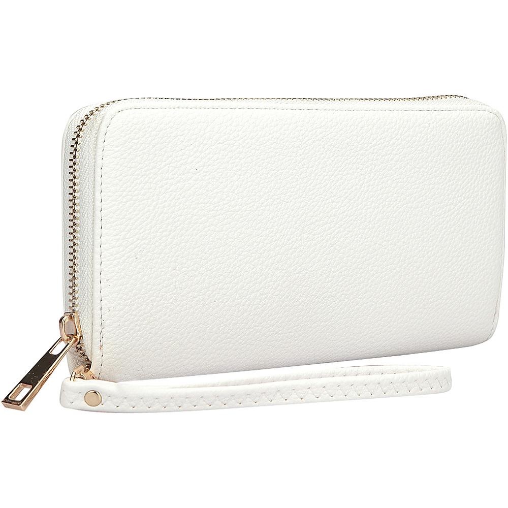 Dasein Zip Around Emblem Wallet White - Dasein Leather Handbags - Handbags, Leather Handbags