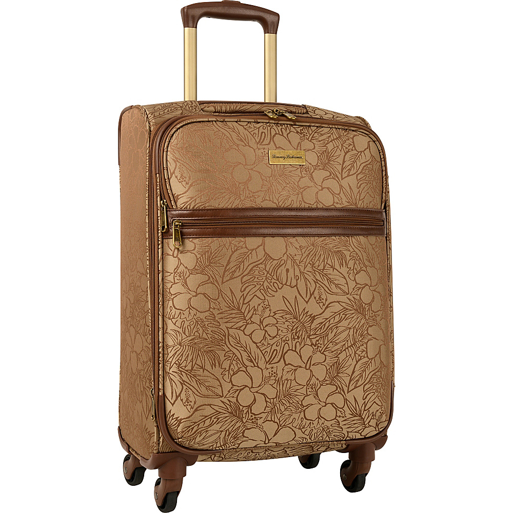 Tommy Bahama Mahalo 20 Expandable Spinner Suitcase Brown Tan Hibiscus Tommy Bahama Softside Carry On