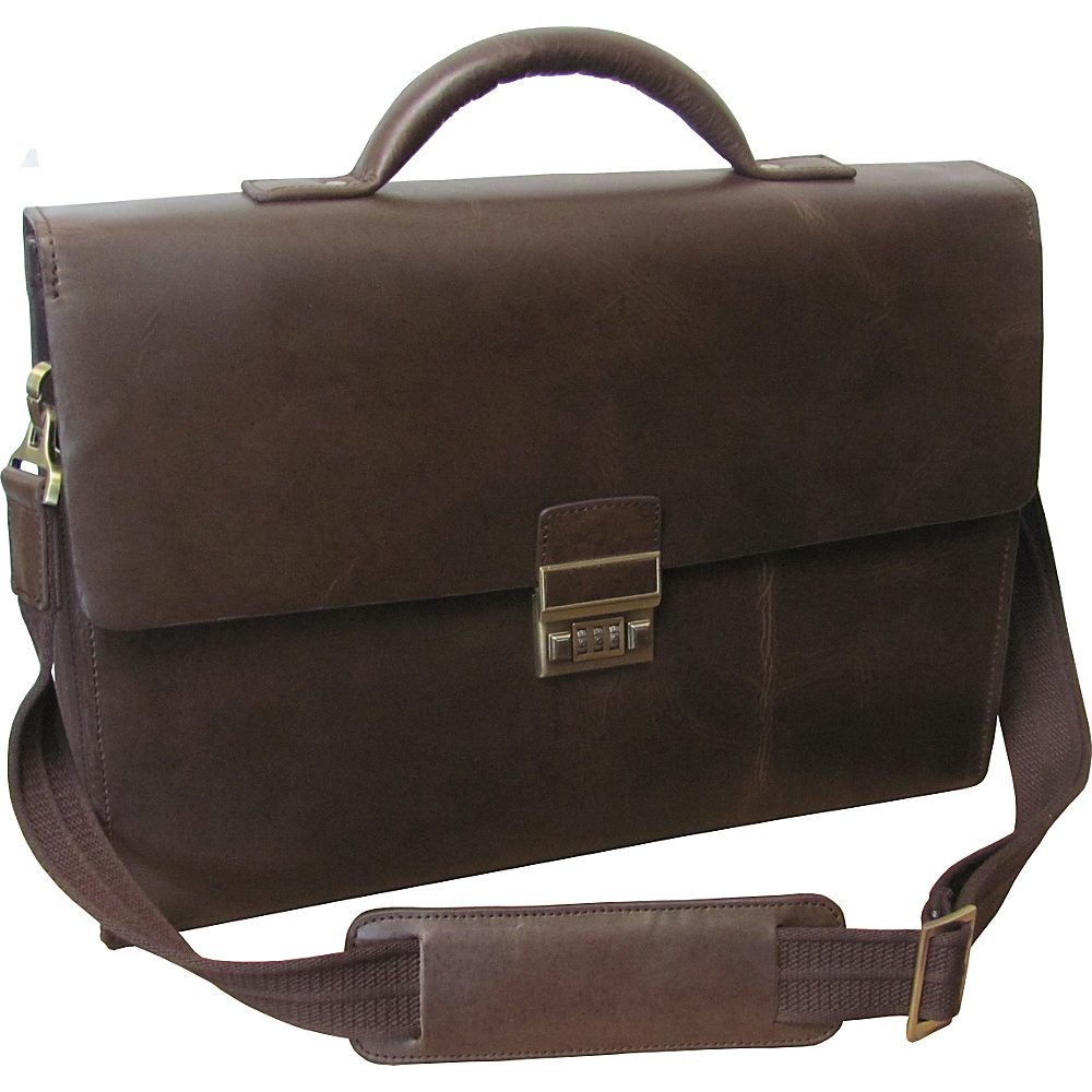 AmeriLeather Amerileather Distressed Brown Laptop Briefcase Distressed Brown - AmeriLeather Non-Wheeled Business Cases - Work Bags & Briefcases, Non-Wheeled Business Cases