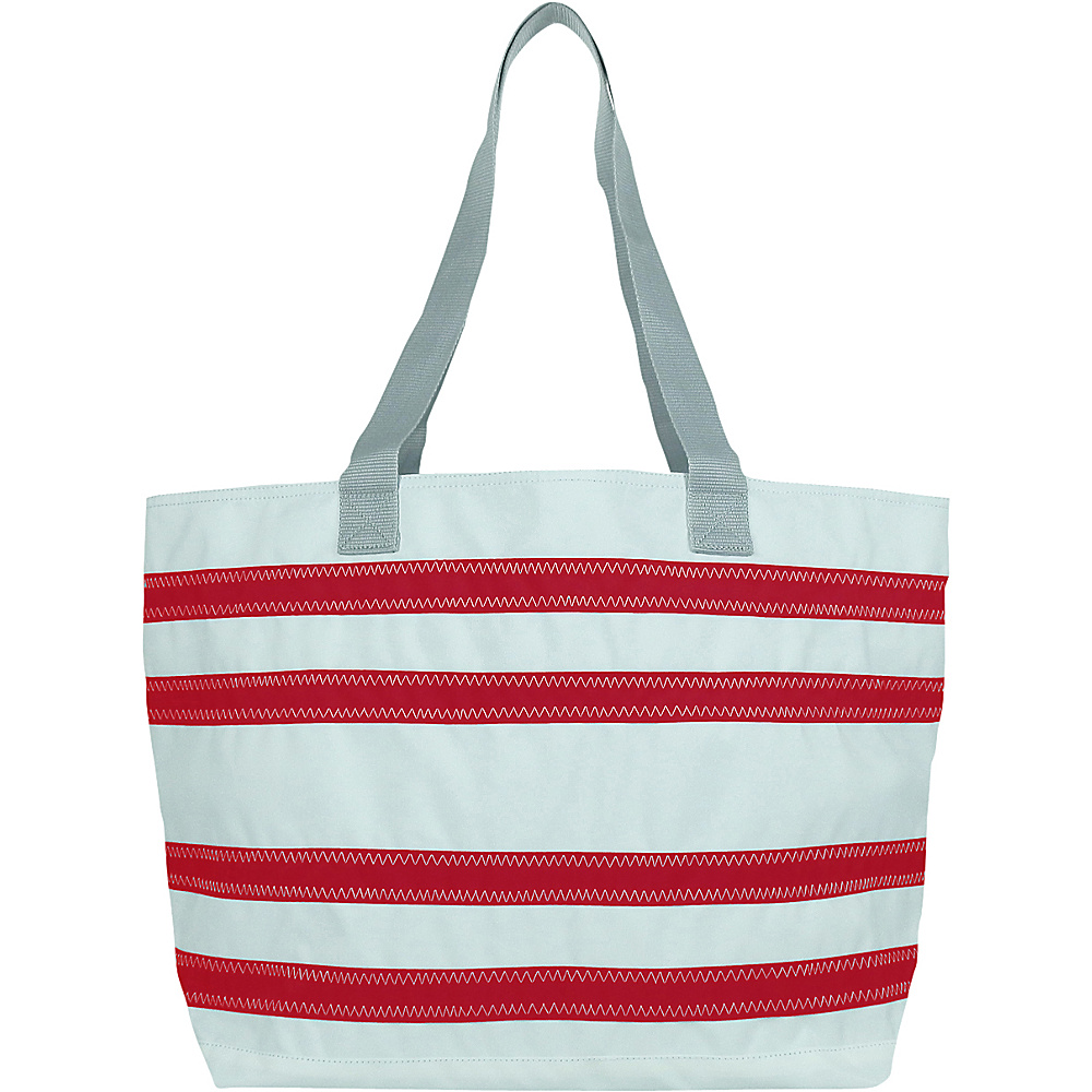 SailorBags Nautical Stripe Large Tote White with Red Stripes SailorBags All Purpose Totes