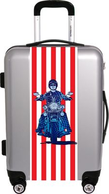 Ugo Bags Patriotic Cyle By Gary Grayson 26.5 inch Luggage Silver - Ugo Bags Hardside Checked