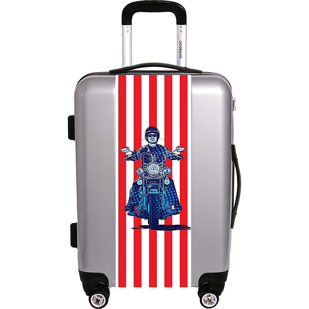 Ugo Bags Patriotic Cyle By Gary Grayson 26.5 Luggage Silver Ugo Bags Hardside Checked