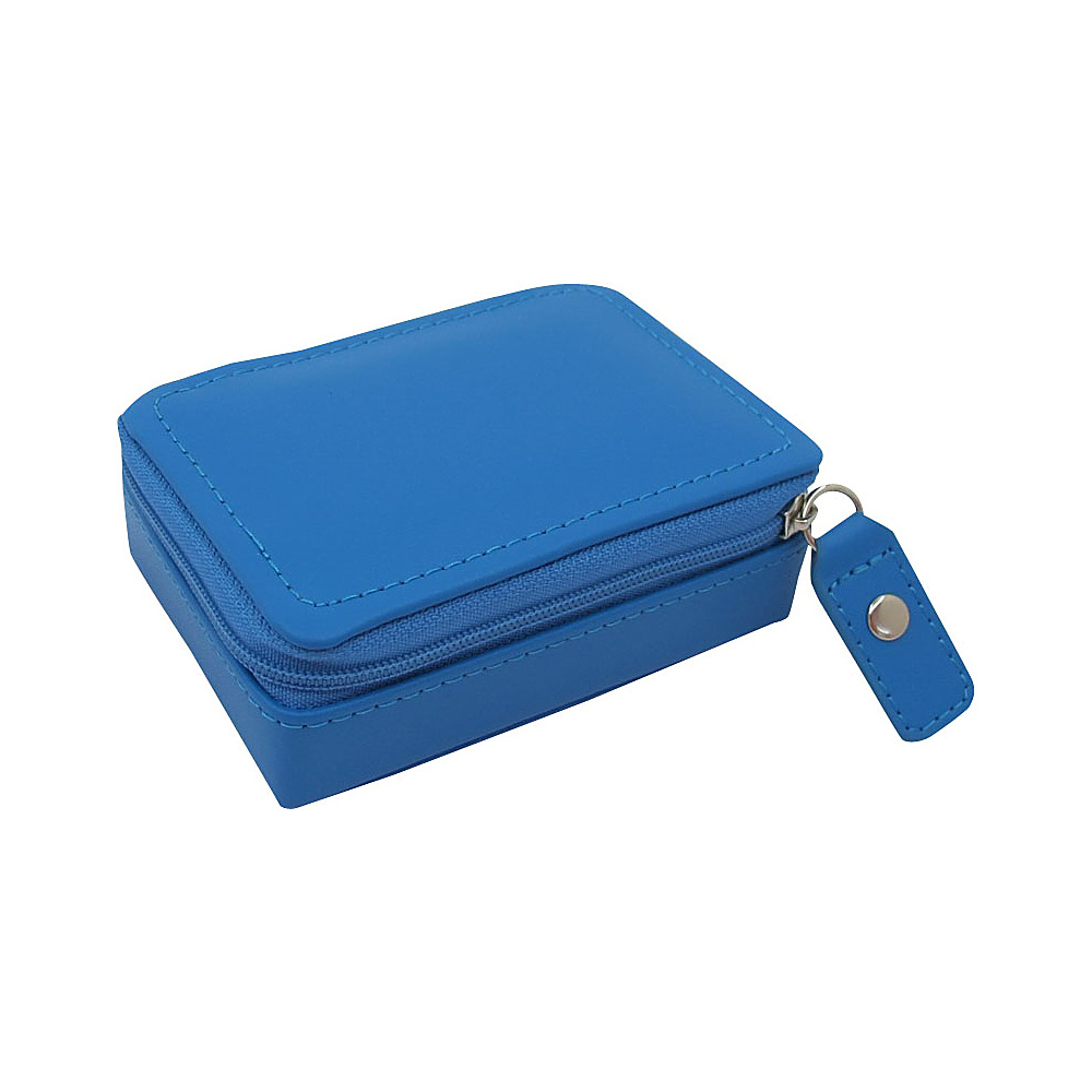 Budd Leather Zippered Mini Jewelry Box Blue Budd Leather Travel Organizers