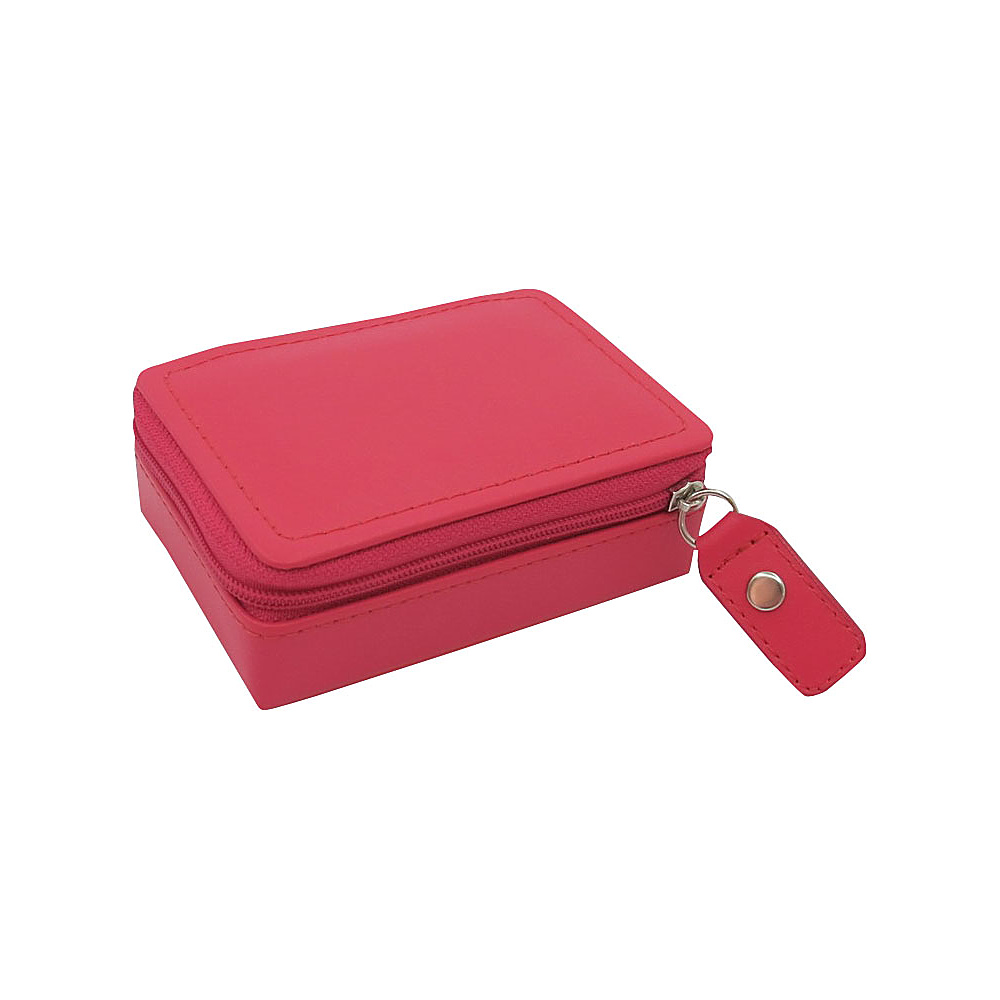 Budd Leather Zippered Mini Jewelry Box Raspberry Budd Leather Travel Organizers