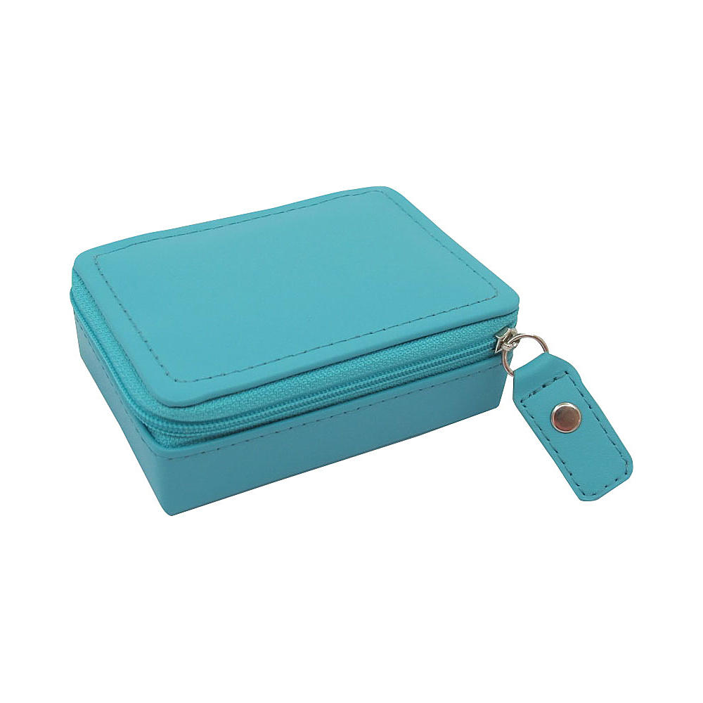 Budd Leather Zippered Mini Jewelry Box Teal Budd Leather Travel Organizers