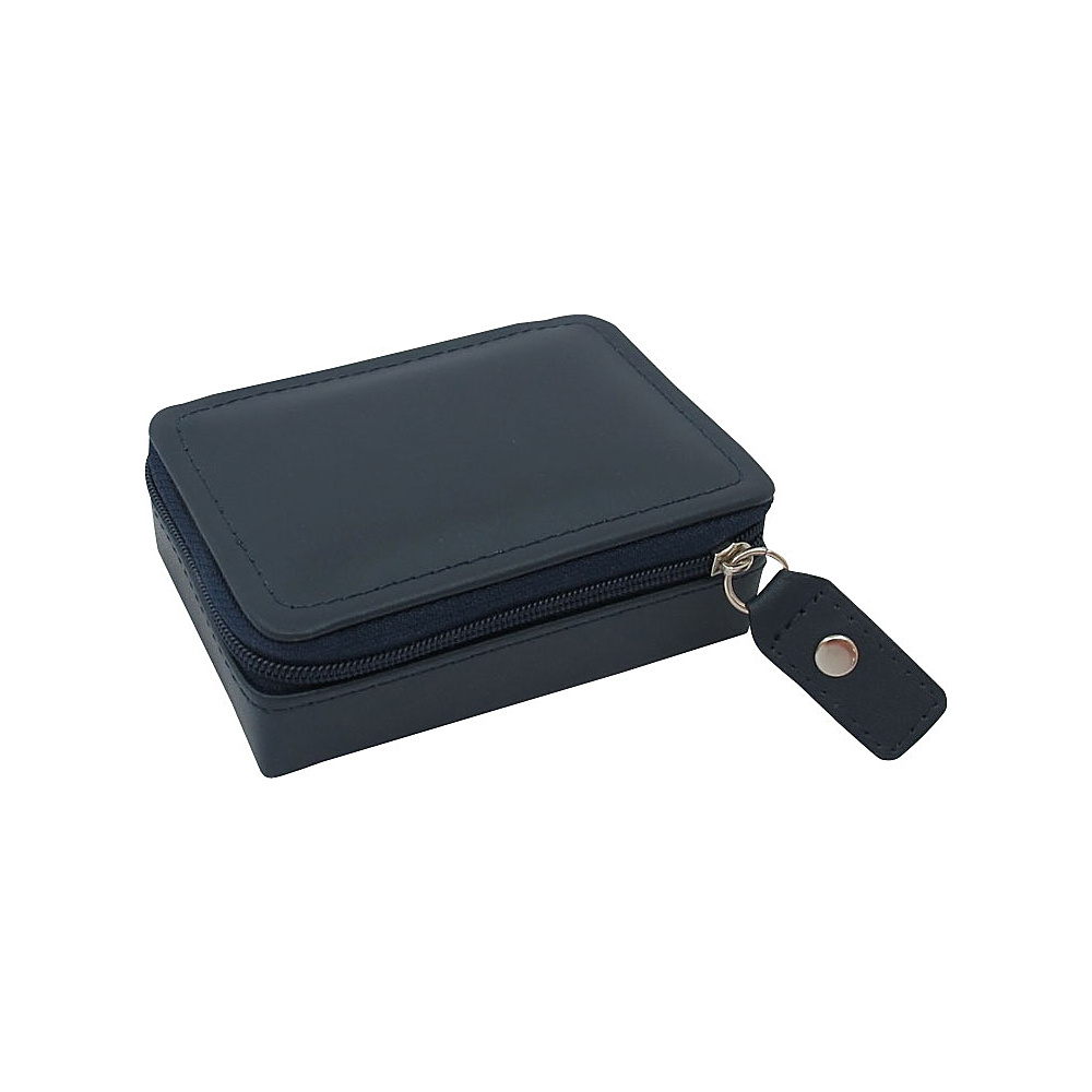 Budd Leather Zippered Mini Jewelry Box Navy Blue Budd Leather Travel Organizers