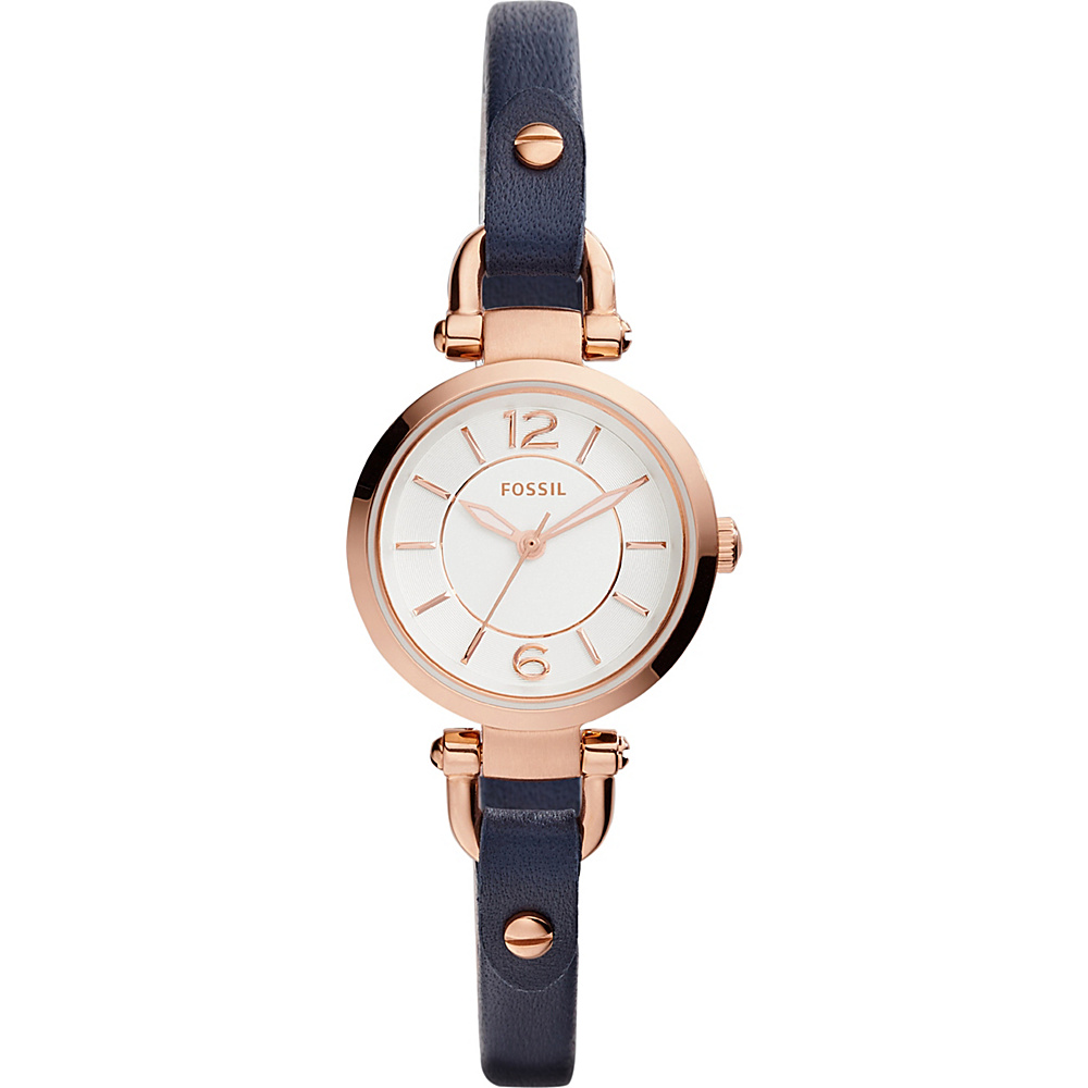 Fossil Georgia Mini Three-Hand Leather Watch Blue - Fossil Watches - Fashion Accessories, Watches