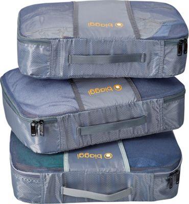 biaggi ZipCubes Packing Cubes Plus Shoe Bag/Laundry Bag, Medium Grey - biaggi Travel Organizers
