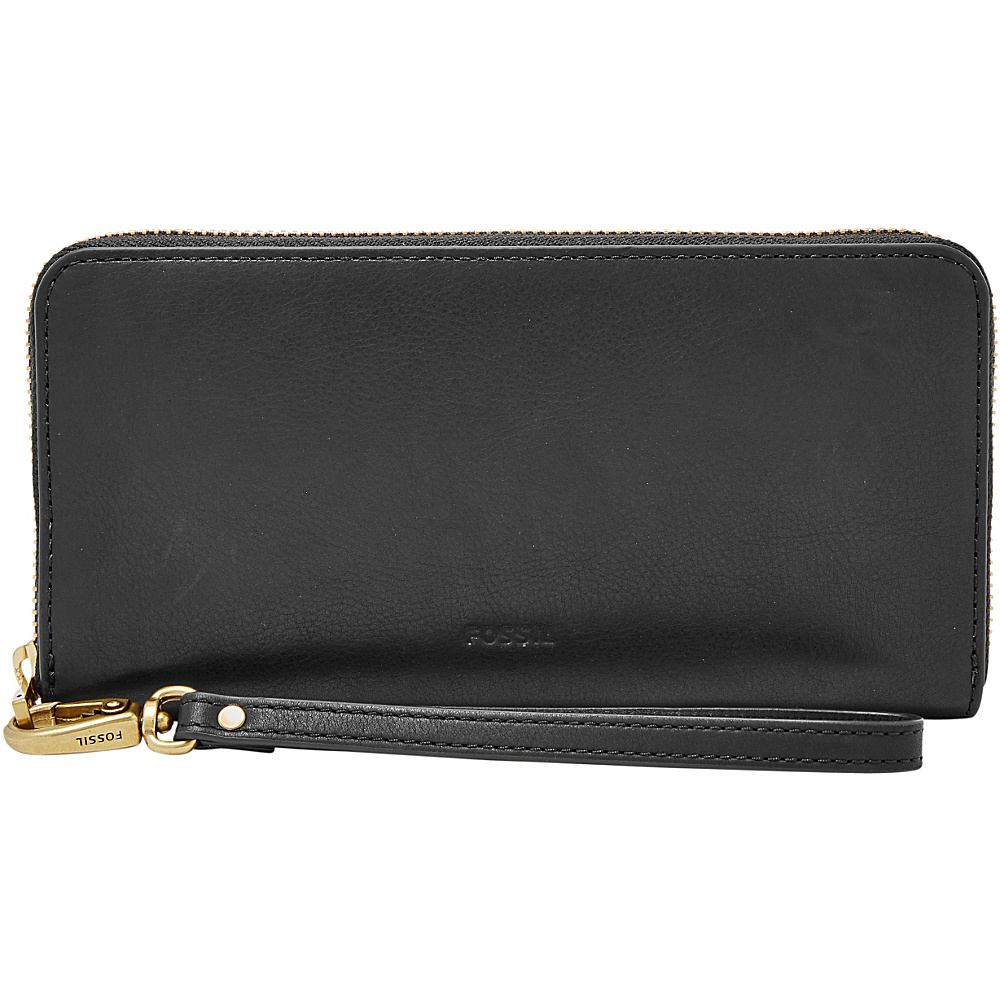 Fossil Emma RFID Large Zip Clutch Black - Fossil Designer Handbags - Handbags, Designer Handbags