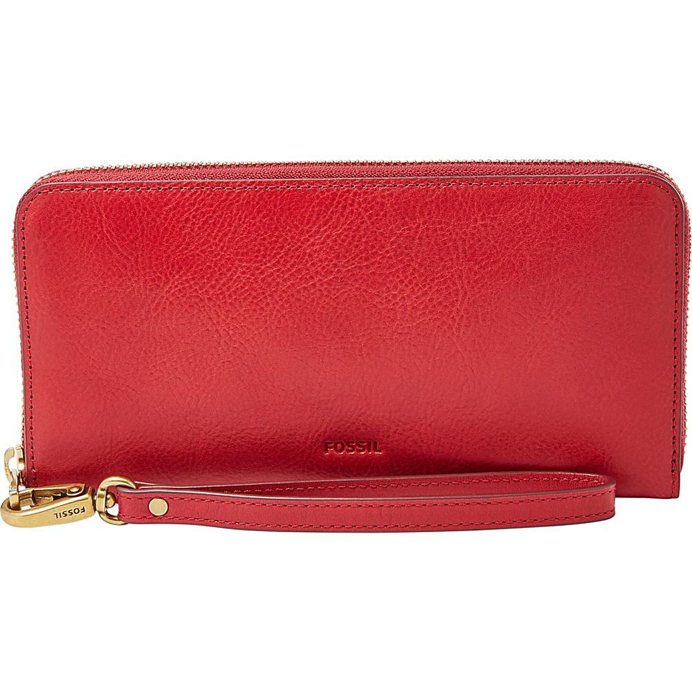 Fossil Emma RFID Large Zip Clutch Red Velvet - Fossil Womens Wallets - Women's SLG, Women's Wallets