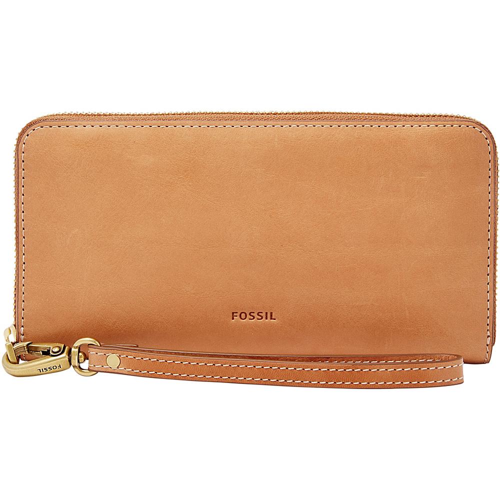 Fossil Emma RFID Large Zip Clutch Tan - Fossil Designer Handbags - Handbags, Designer Handbags