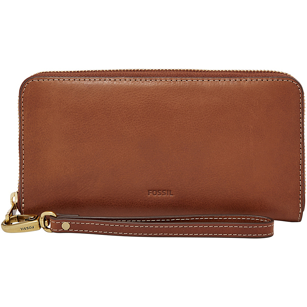 Fossil Emma RFID Large Zip Clutch Brown - Fossil Designer Handbags - Handbags, Designer Handbags