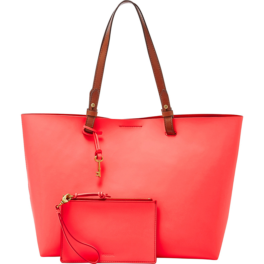 Fossil Rachel Tote Neon Coral - Fossil Leather Handbags - Handbags, Leather Handbags