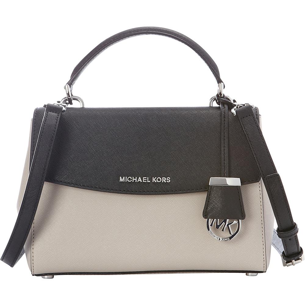 MICHAEL Michael Kors Ava Small Top Handle Satchel Cement/Black - MICHAEL Michael Kors Designer Handbags