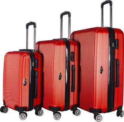 Brio Luggage Hardside Spinner Luggage Set #1310 Red - Brio Luggage Luggage Sets