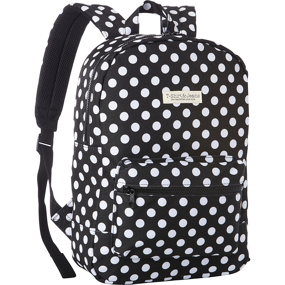 T shirt Jeans Black Polkadot School Backpack Black Polkadot T shirt Jeans Everyday Backpacks