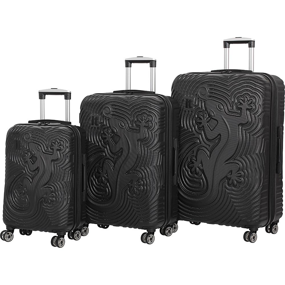 it luggage Lizard Hardside 8 Wheel 3 piece set Black - it luggage Luggage Sets