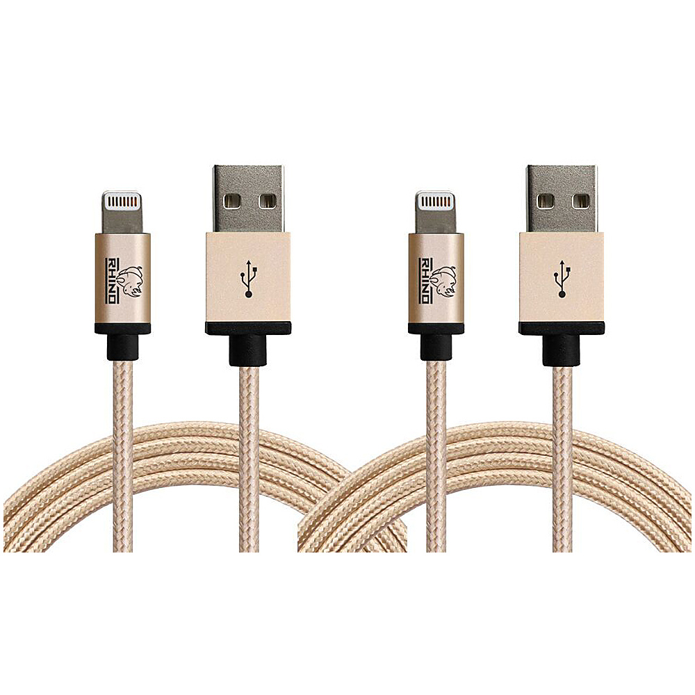 Rhino Paracord Sync Charge 2 meter MFI Lightning Cable 2 Pack Gold Rhino Electronic Accessories