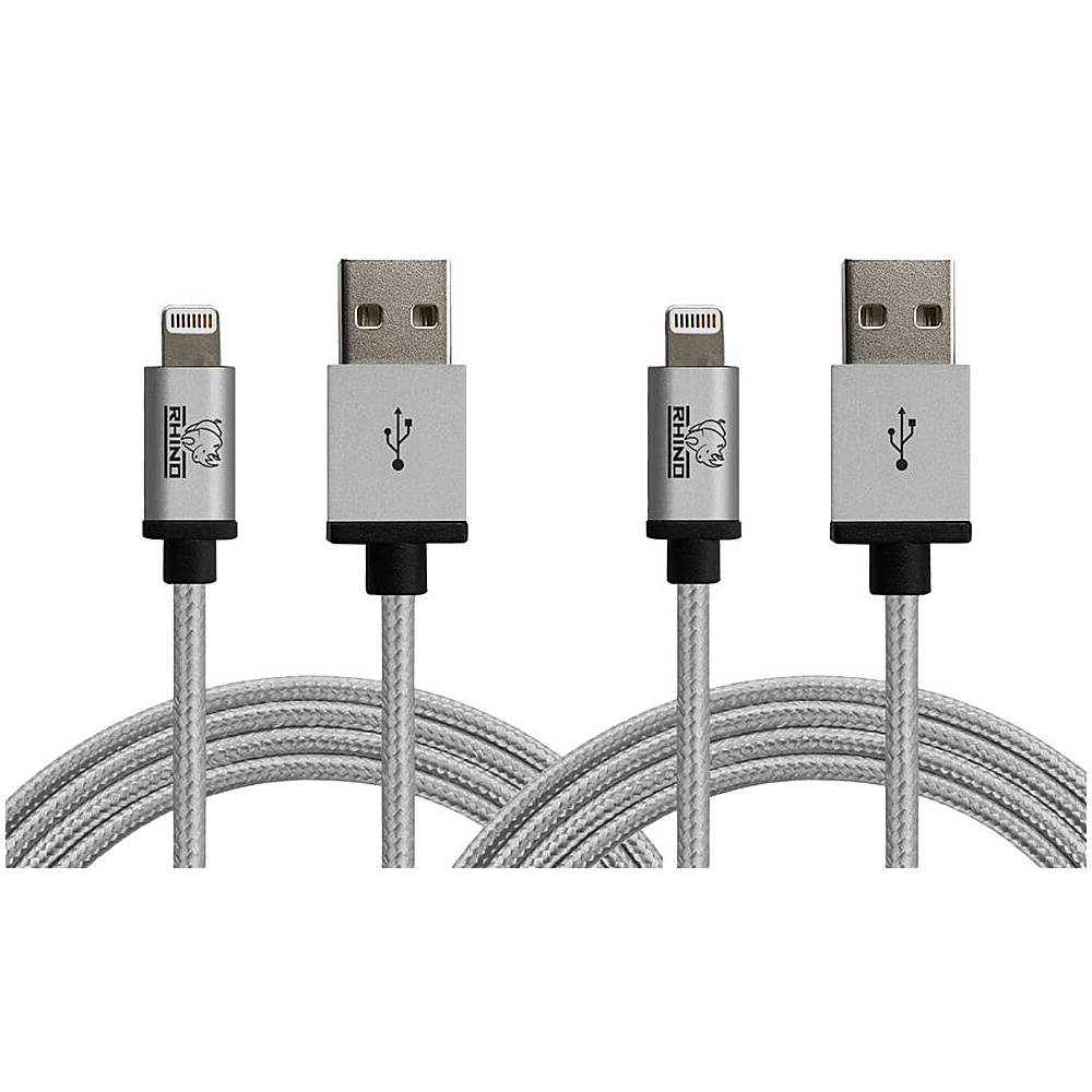 Rhino Paracord Sync Charge 2 meter MFI Lightning Cable 2 Pack Grey Rhino Electronic Accessories