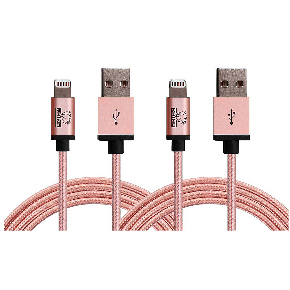 Rhino Paracord Sync Charge 2 meter MFI Lightning Cable 2 Pack Rose Gold Rhino Electronic Accessories