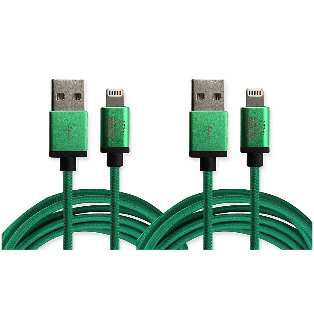 Rhino Paracord Sync Charge 2 meter MFI Lightning Cable 2 Pack Lime Green Rhino Electronic Accessories