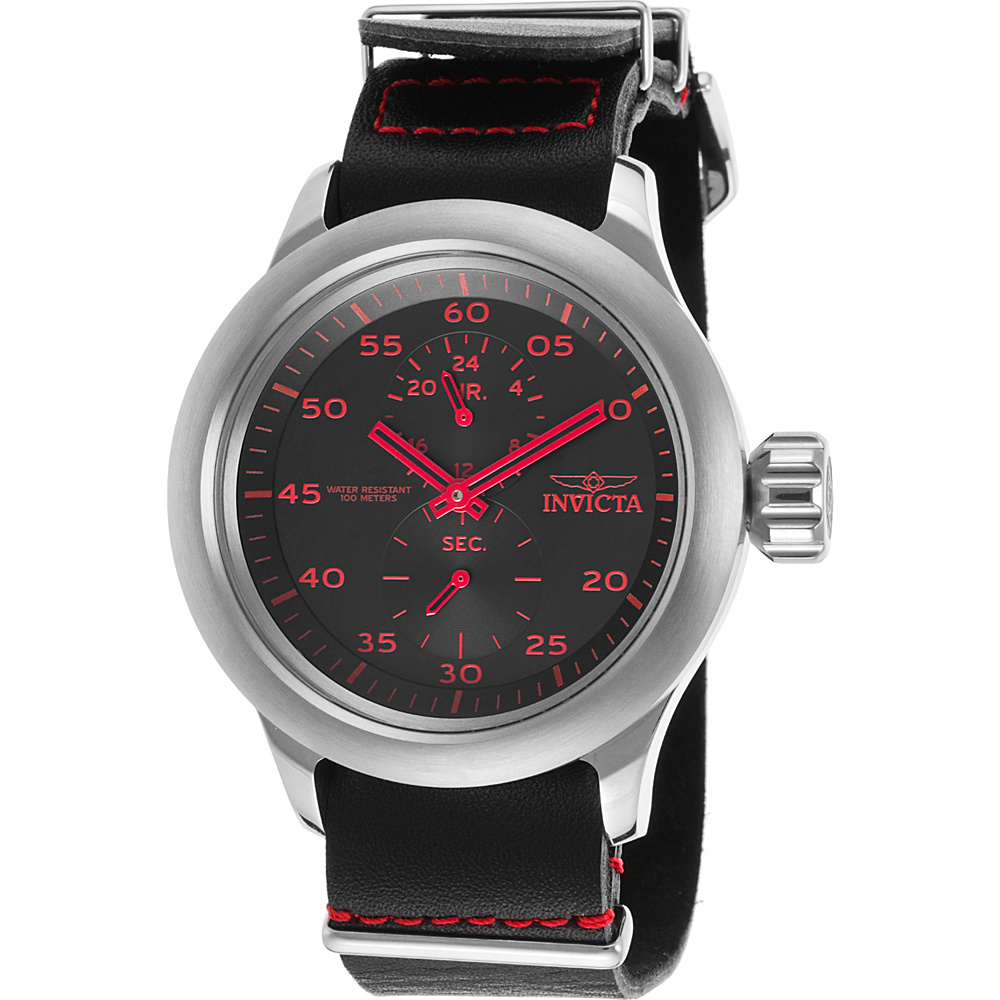 Invicta Watches Mens Russian Aviator GMT Genuine Leather Band Watch Black/Red - Invicta Watches Watches
