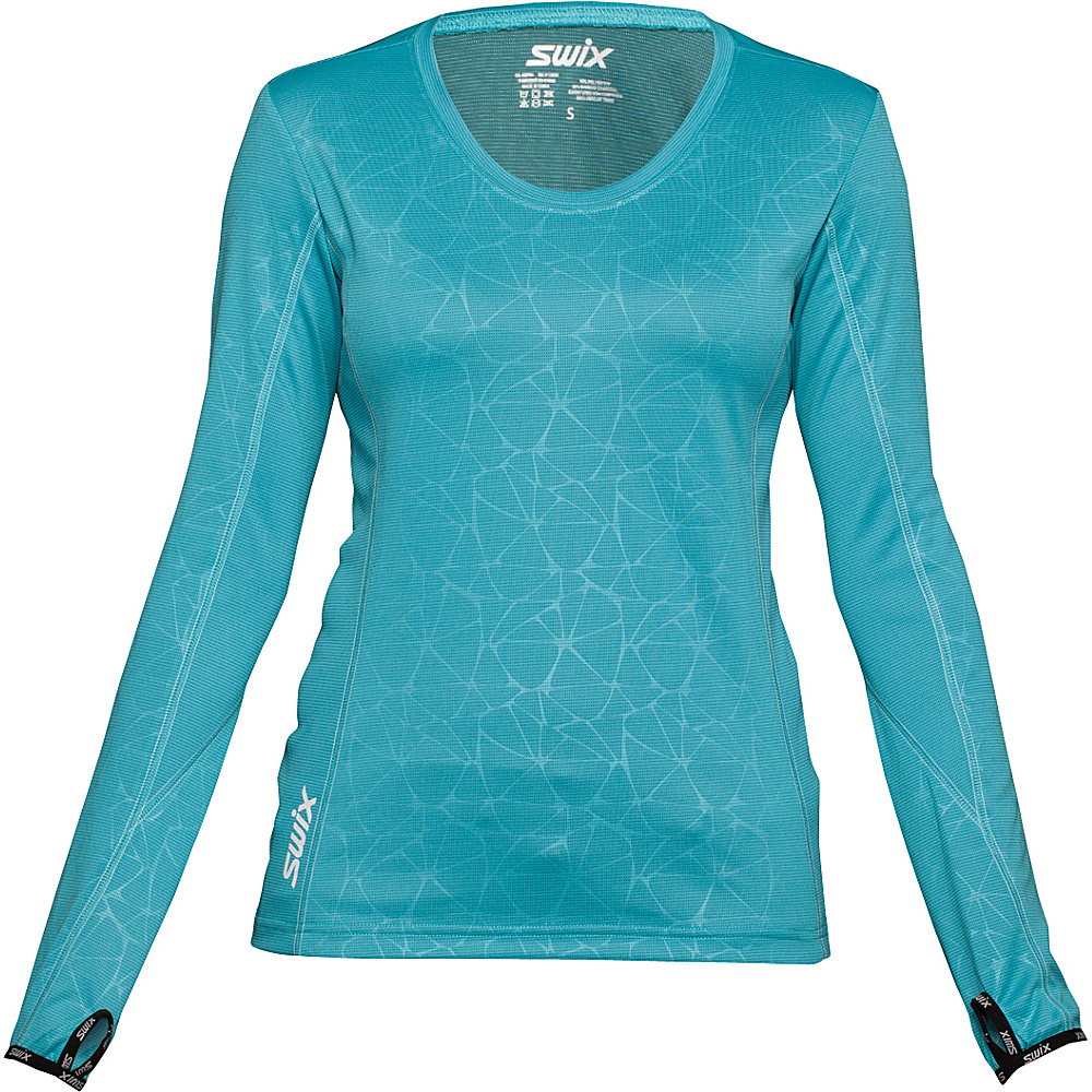 Swix Womens Stadion Long Sleeve Tee XS Ice Blue Swix Women s Apparel