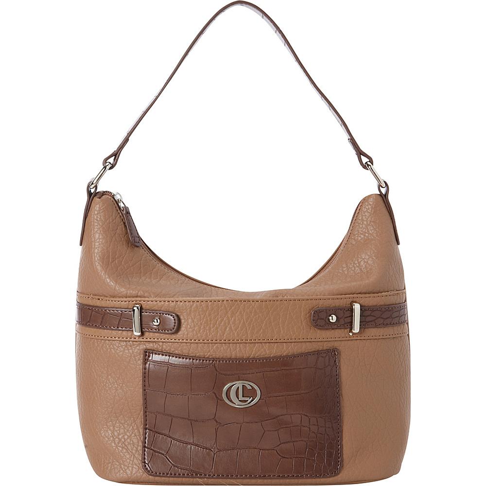 Aurielle Carryland Croco Belting Hobo Sand Brown Aurielle Carryland Manmade Handbags