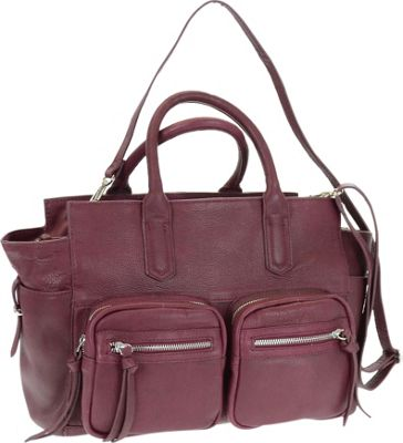 R & R Collections Genuine Leather Double Handle Tote Burgundy - R & R Collections Leather Handbags
