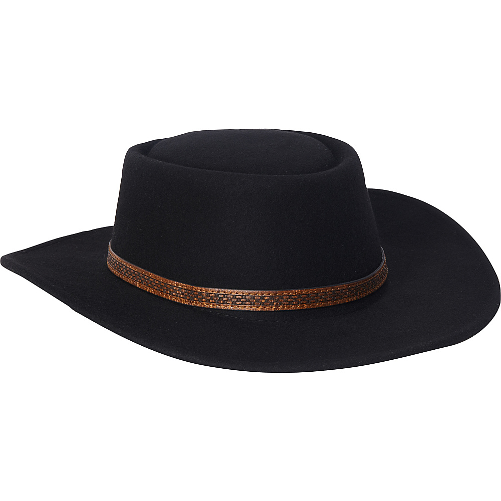 Adora Hats Wool Felt Western Hat Black Adora Hats Hats Gloves Scarves