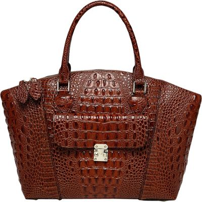 Vicenzo Leather Carrina Croc Embossed Dome Tote Red - Vicenzo Leather Leather Handbags
