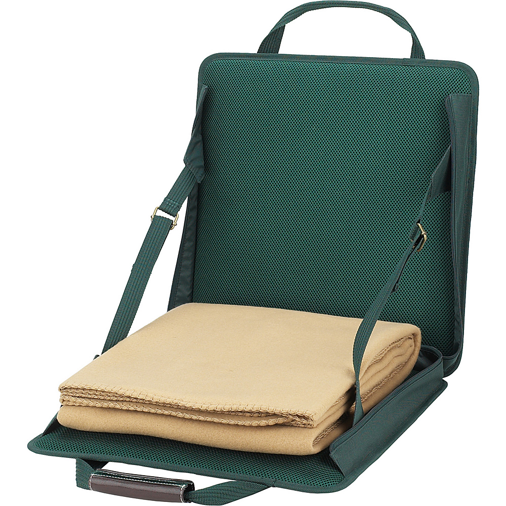 Picnic at Ascot Portable Adjustable Reclining Seat with Fleece Blanket Green - Picnic at Ascot Outdoor Accessories - Outdoor, Outdoor Accessories