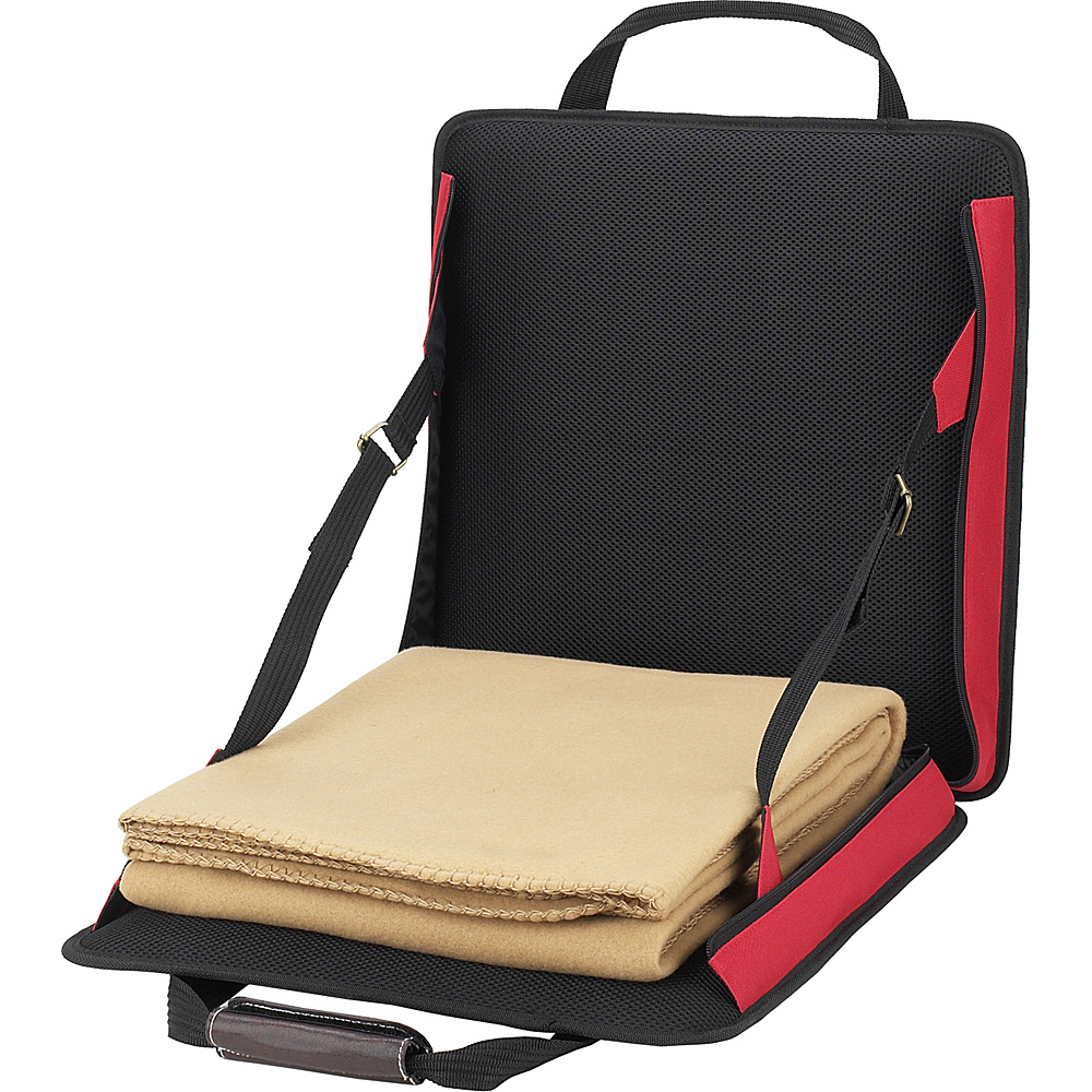 Picnic at Ascot Portable Adjustable Reclining Seat with Fleece Blanket Red - Picnic at Ascot Outdoor Accessories - Outdoor, Outdoor Accessories