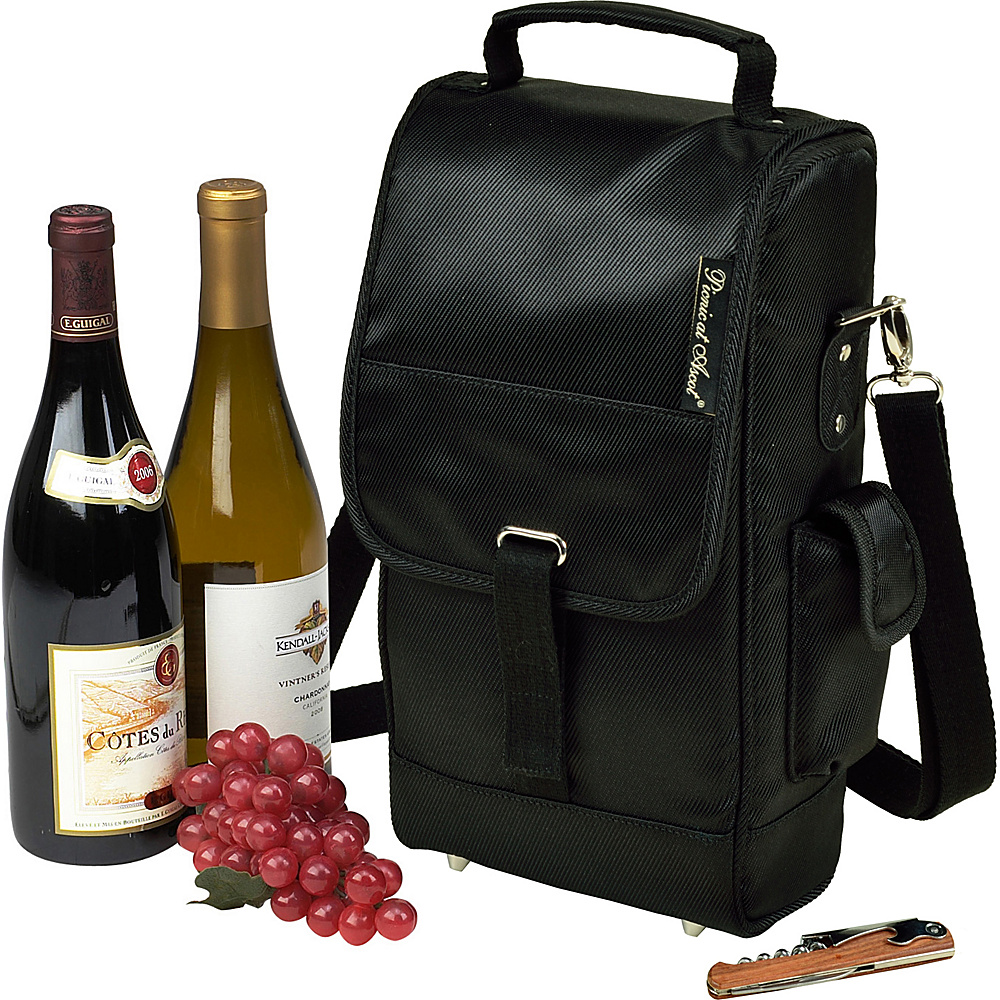Picnic at Ascot Stylish Insulated 2 Bottle Wine Tote Bag with Corkscrew Tone on Tone Black - Picnic at Ascot Outdoor Accessories - Outdoor, Outdoor Accessories