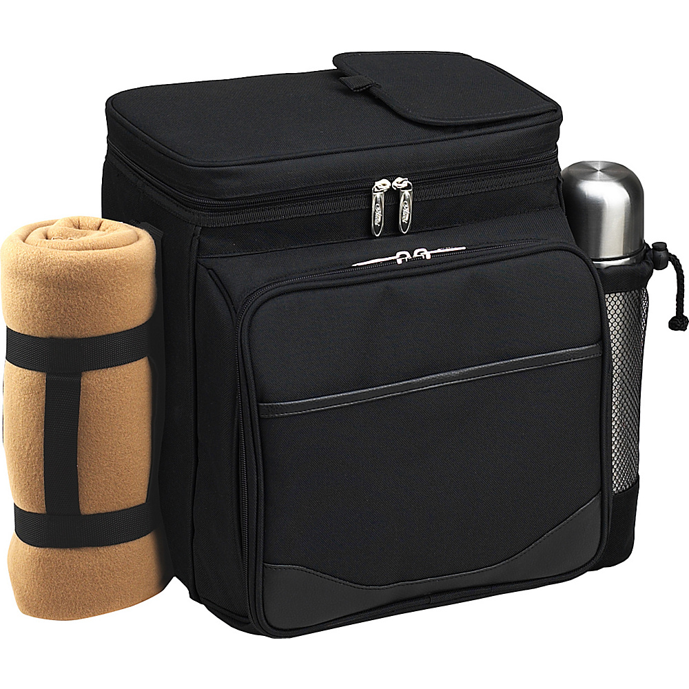Picnic at Ascot Insulated Picnic Basket/Cooler Fully Equipped for 2 with Coffee Service and blanket - Black Black - Picnic at Ascot Outdoor Coolers - Outdoor, Outdoor Coolers