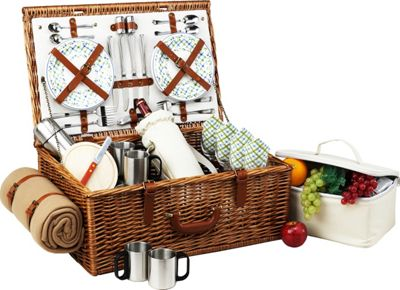Picnic at Ascot Dorset English-Style Willow Picnic Basket with Service for 4,  Coffee Set and Blanket Wicker w/Gazebo - Picnic at Ascot Outdoor Accessories