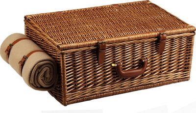 Picnic at Ascot Dorset English-Style Willow Picnic Basket with Service for 4,  Coffee Set and Blanket Wicker w/Gazebo - Picnic at Ascot Outdoor Accessories 10475363