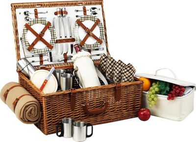 Picnic at Ascot Dorset English-Style Willow Picnic Basket with Service for 4,  Coffee Set and Blanket Wicker w/London - Picnic at Ascot Outdoor Accessories 10475364