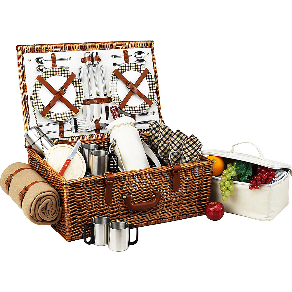 Picnic at Ascot Dorset English-Style Willow Picnic Basket with Service for 4,  Coffee Set and Blanket Wicker w/London - Picnic at Ascot Outdoor Accessories - Outdoor, Outdoor Accessories