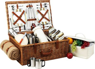 Picnic at Ascot Dorset English-Style Willow Picnic Basket with Service for 4,  Coffee Set and Blanket Wicker w/Santa Cruz - Picnic at Ascot Outdoor Accessories