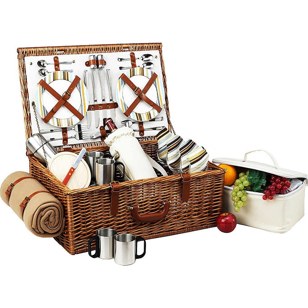 Picnic at Ascot Dorset English-Style Willow Picnic Basket with Service for 4,  Coffee Set and Blanket Wicker w/Santa Cruz - Picnic at Ascot Outdoor Accessories - Outdoor, Outdoor Accessories