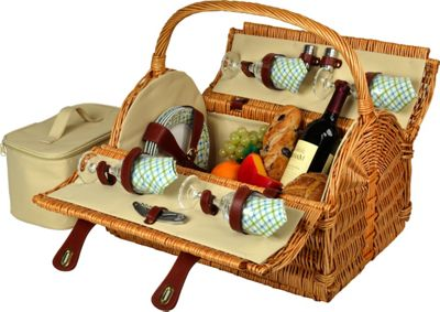 Picnic at Ascot Yorkshire Willow Picnic Basket with Service for 4 Wicker w/Gazebo - Picnic at Ascot Outdoor Accessories