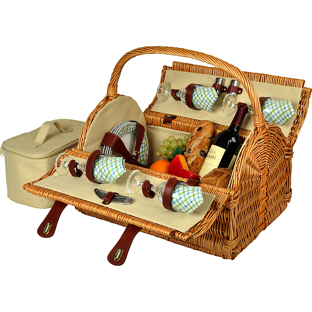 Picnic at Ascot Yorkshire Willow Picnic Basket with Service for 4 Wicker w/Gazebo - Picnic at Ascot Outdoor Accessories - Outdoor, Outdoor Accessories
