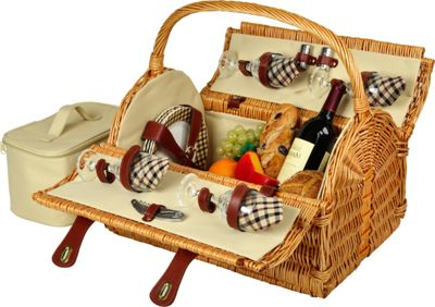 Picnic at Ascot Yorkshire Willow Picnic Basket with Service for 4 Wicker w/London - Picnic at Ascot Outdoor Accessories