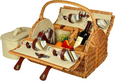 Picnic at Ascot Yorkshire Willow Picnic Basket with Service for 4 Wicker w/Santa Cruz - Picnic at Ascot Outdoor Accessories